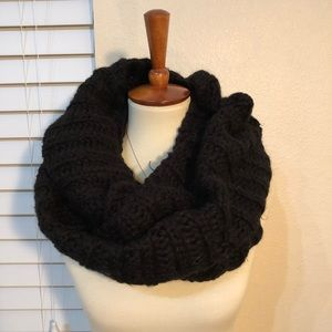 Black cable knit oversized scarf